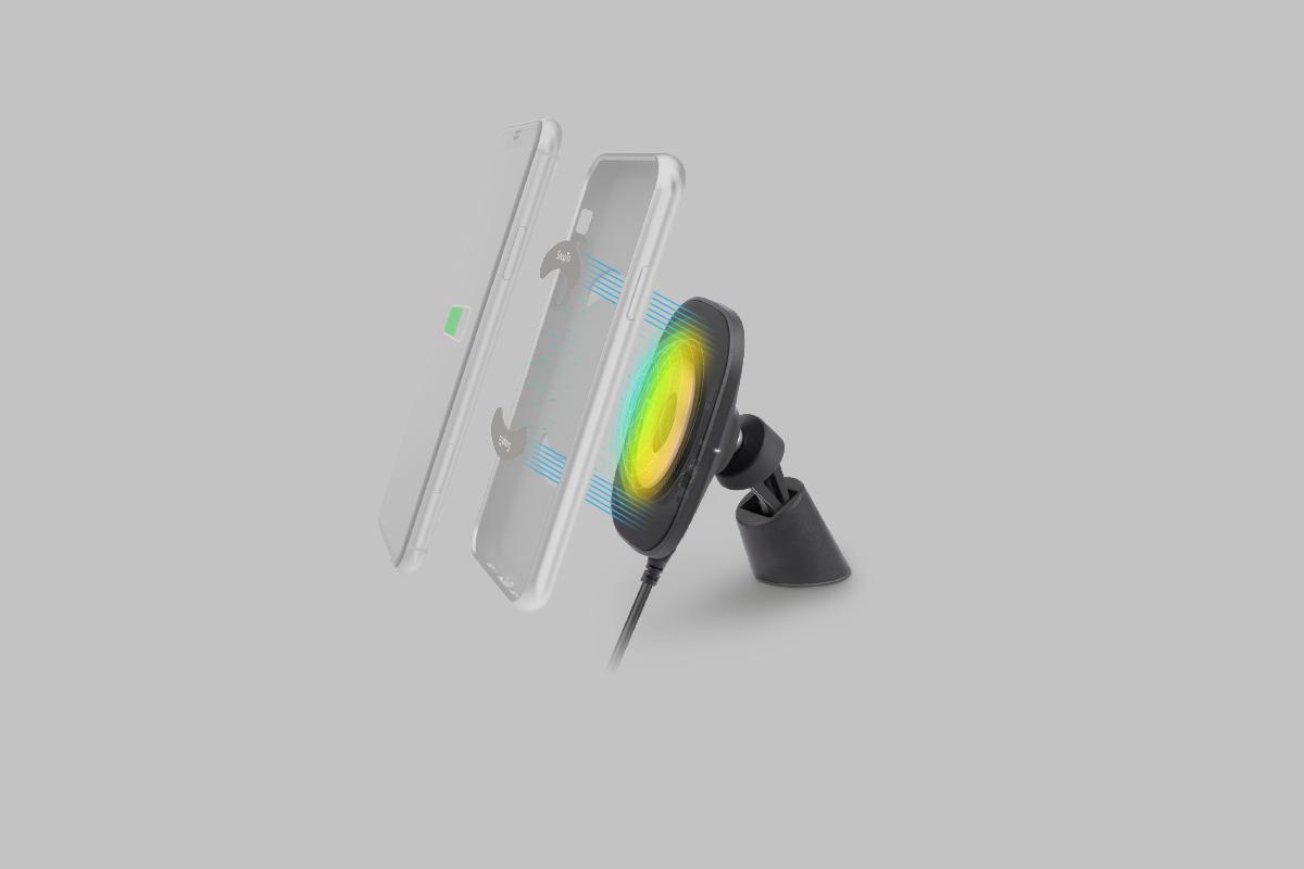 Это крепление предназначено для использования с любыми чехлами* Moshi из серии SnapTo™ и идеально подходит к ним, а также обеспечивает оптимальную скорость зарядки.