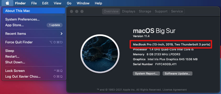 MacBook system info screen showing model description