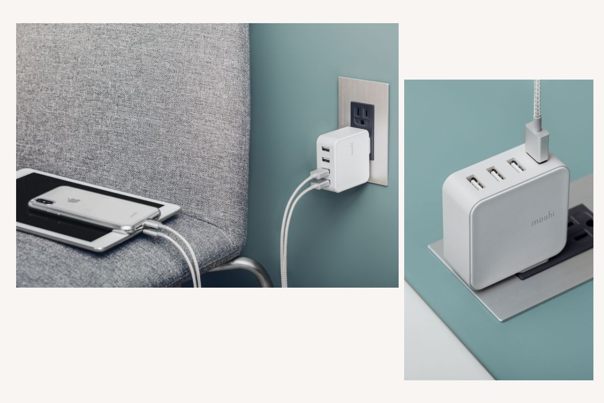 Four ports support a maximum output of 35 W/7 A to keep phones, tablets, headphones and more charged at home or while traveling.
