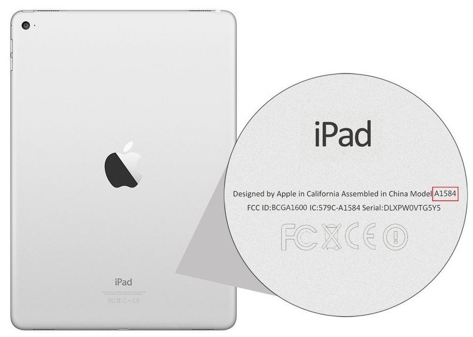 The back of an iPad highlighting the model identifier