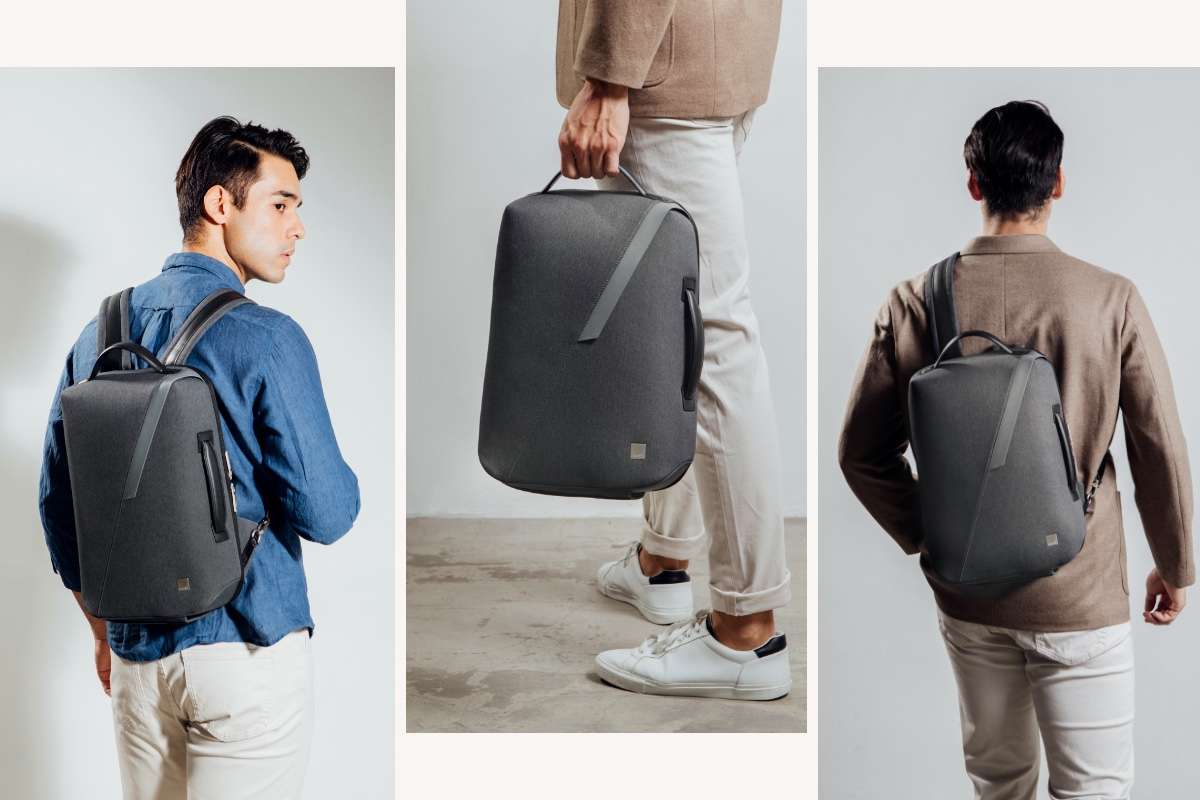 Muto is a modern backpack for hands-free convenience, a crossbody for the commute, and a briefcase for meetings, with an intelligent zipper system that ensures the contents stay put whether opening horizontally or vertically.