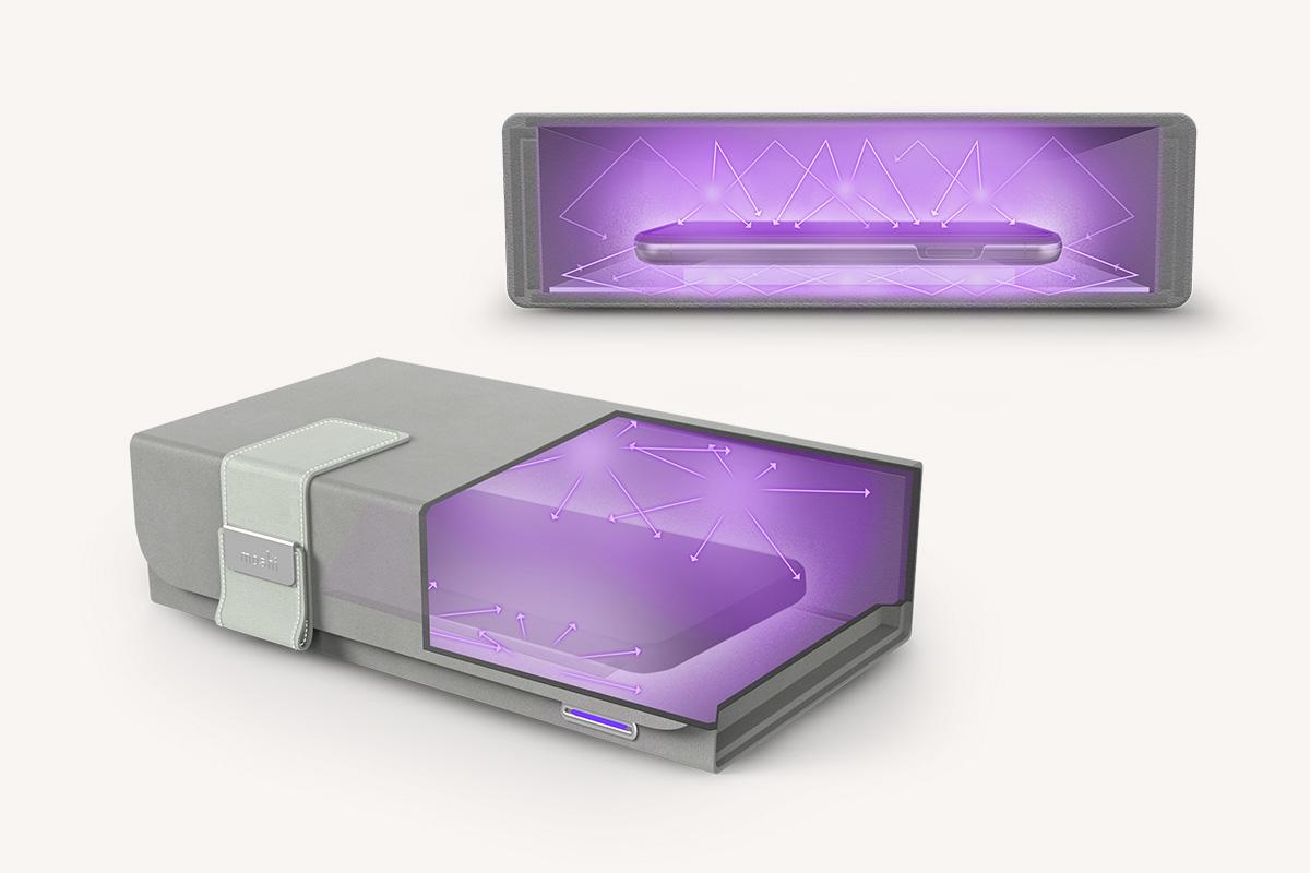Pas besoin de retourner vos dispositifs pour une deuxième désinfection. Breveté par Moshi, la plateforme LumiClear™ du boîtier stérilisant Deep Purple permet, non seulement de soulever légèrement les objets de la base de l'intérieur du boîtier, mais également à la lumière UV-C de passer à travers et d'entrer en contact avec la face inférieure des objets à désinfecter. Stérilisez vos objets en un seul cycle de 4 minutes - pas besoin de les retourner pour une seconde désinfection.