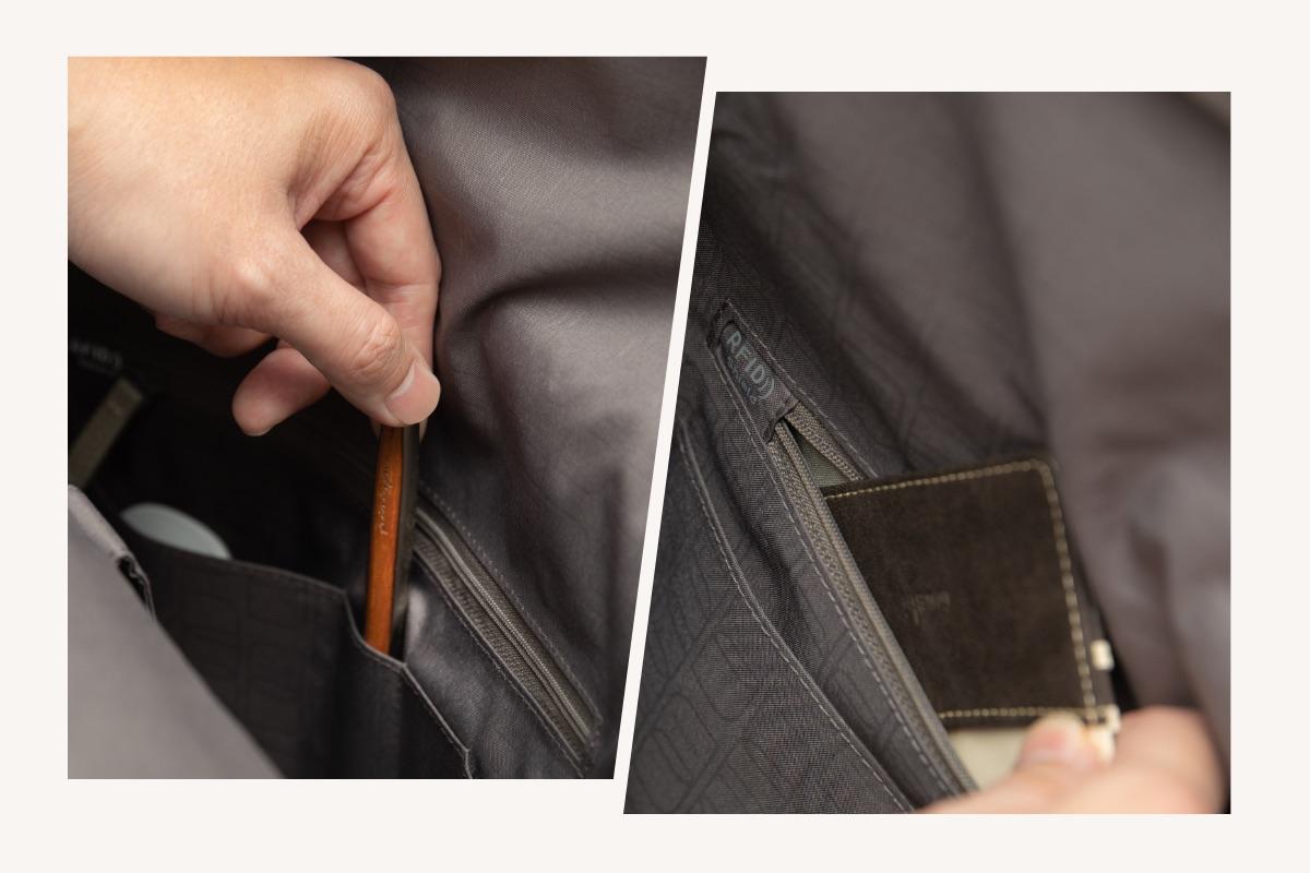 """Lleva todo lo que necesitas para el día o la noche con facilidad y sabiendo exactamente dónde encontrarlo. Vespo cuenta con un espacioso interior con un gran compartimento interno, un compartimento acolchado para un portátil de 13"""", bolsillos internos de malla para guardar objetos más pequeños y un bolsillo RFID para proteger tus datos personales del robo."""