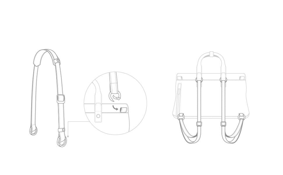 同梱のストラップをバックの背面のセンターループに取り付けます,  ループをバッグの底面に接続します