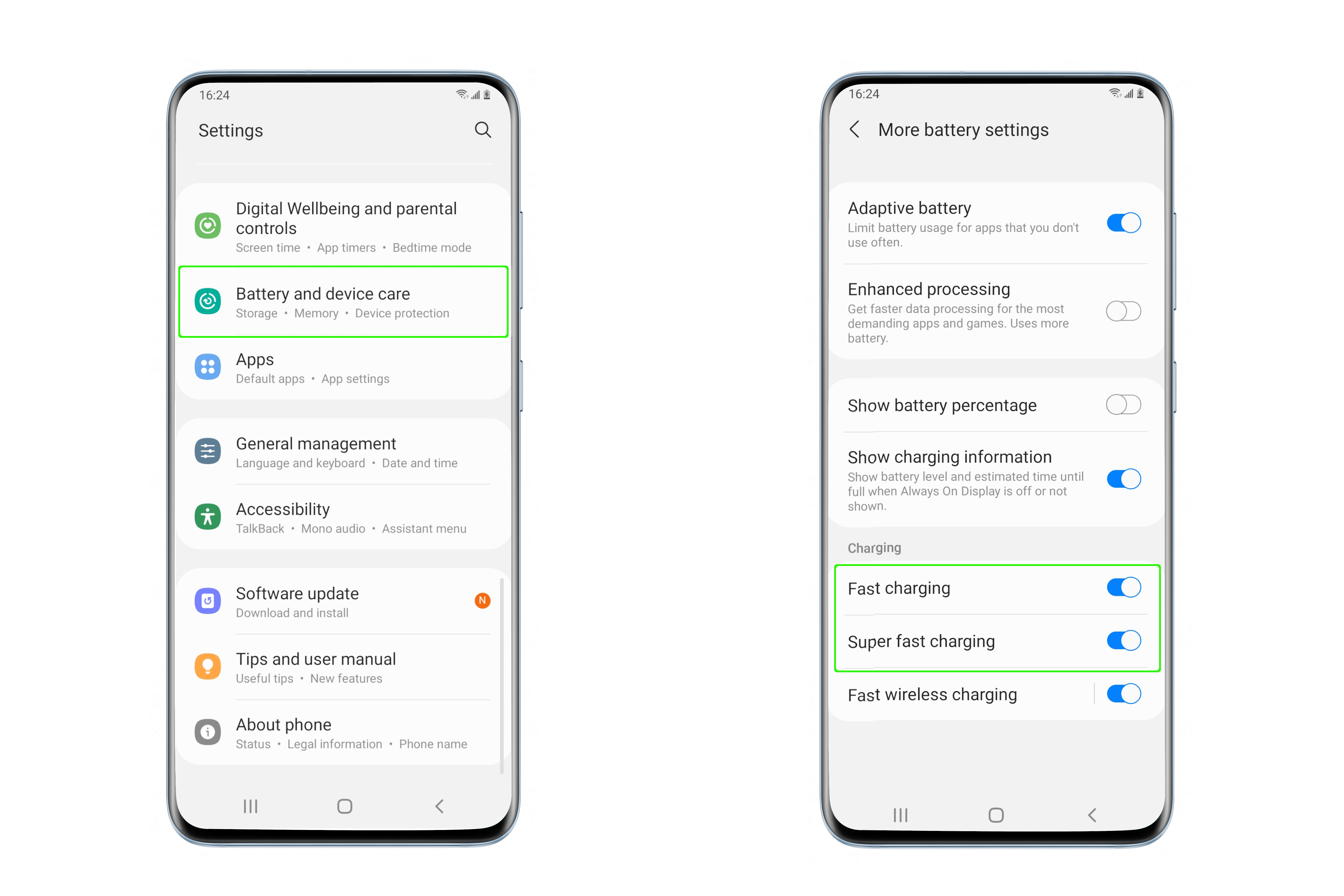 Two screenshots illustrating the steps to enable fast charging on Samsung S21