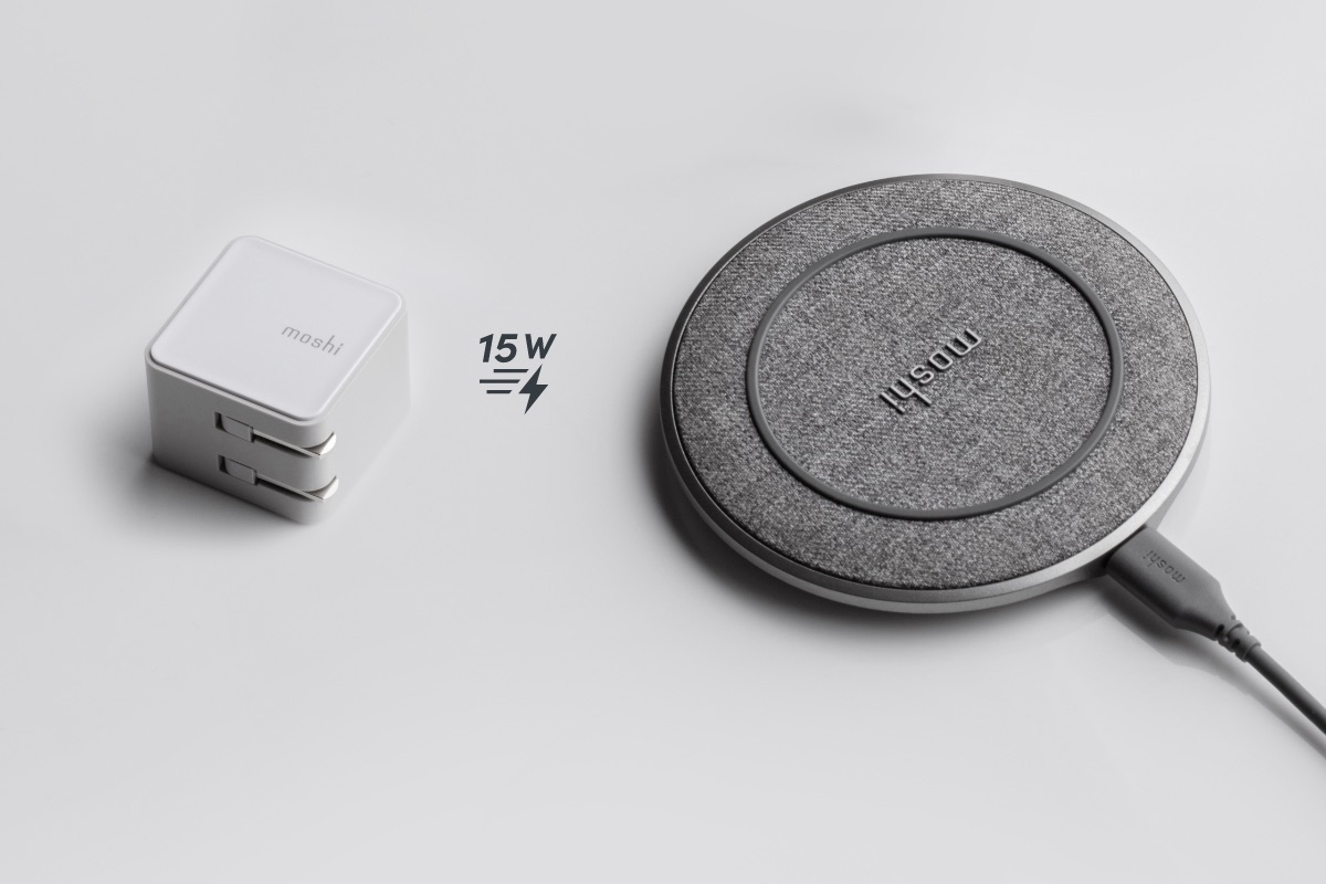 Otto Q is capable of fast-charging compatible smartphones and other devices at up to 15 W when connected to our Qubit USB-C Charger, and also supports Apple and Samsung fast-charging protocols. Moshi's proprietary Q-coil module features enhanced passive cooling for the best charging efficiency and charges through cases up to 5 mm thick.