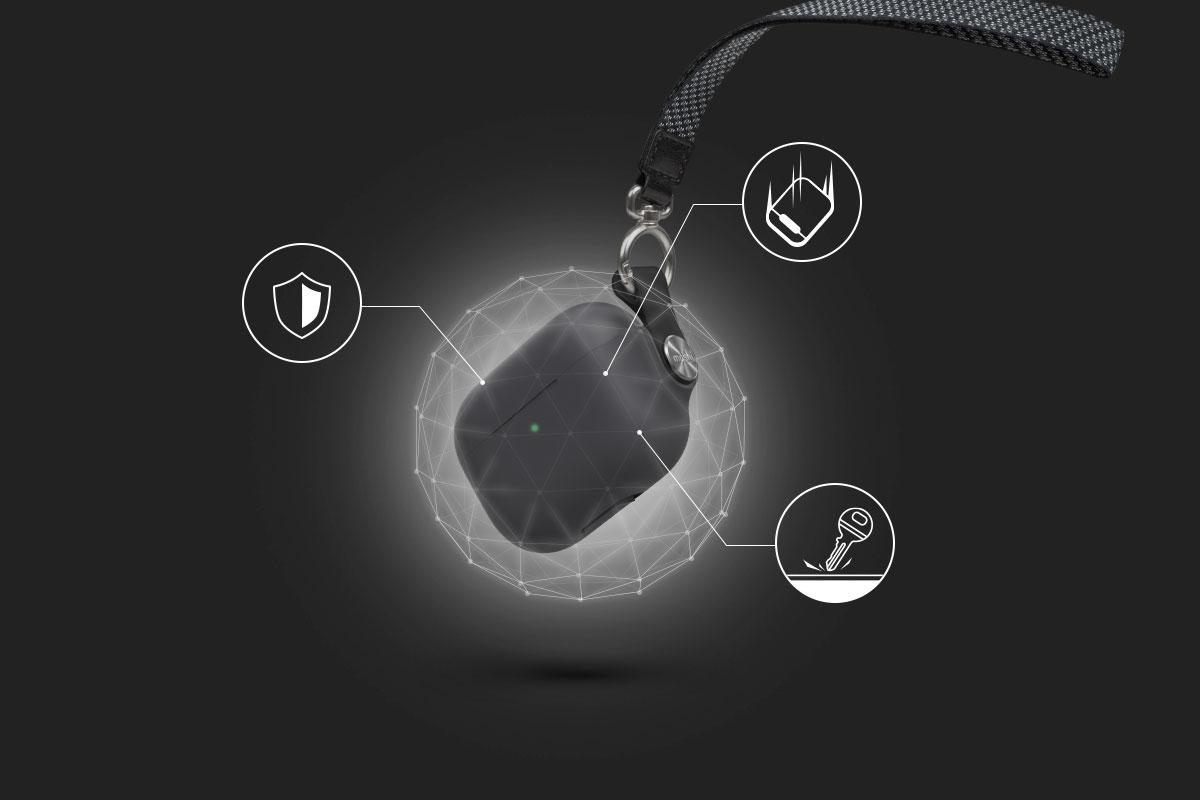 軟殼材質保護 AirPods 充電盒機身,同時防止刮傷及震動衝擊。