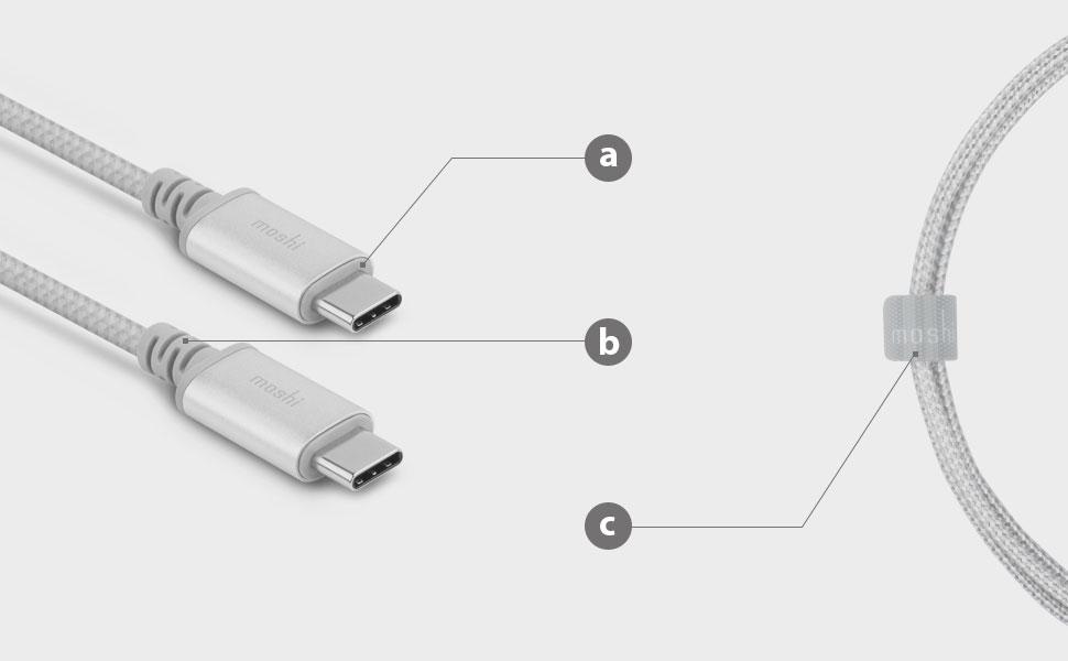 a.Carcasas de aluminio/ b.Puntos de alivio de tensión/ c.Gestión de cables sencilla con el organizador de cables HandyStrap