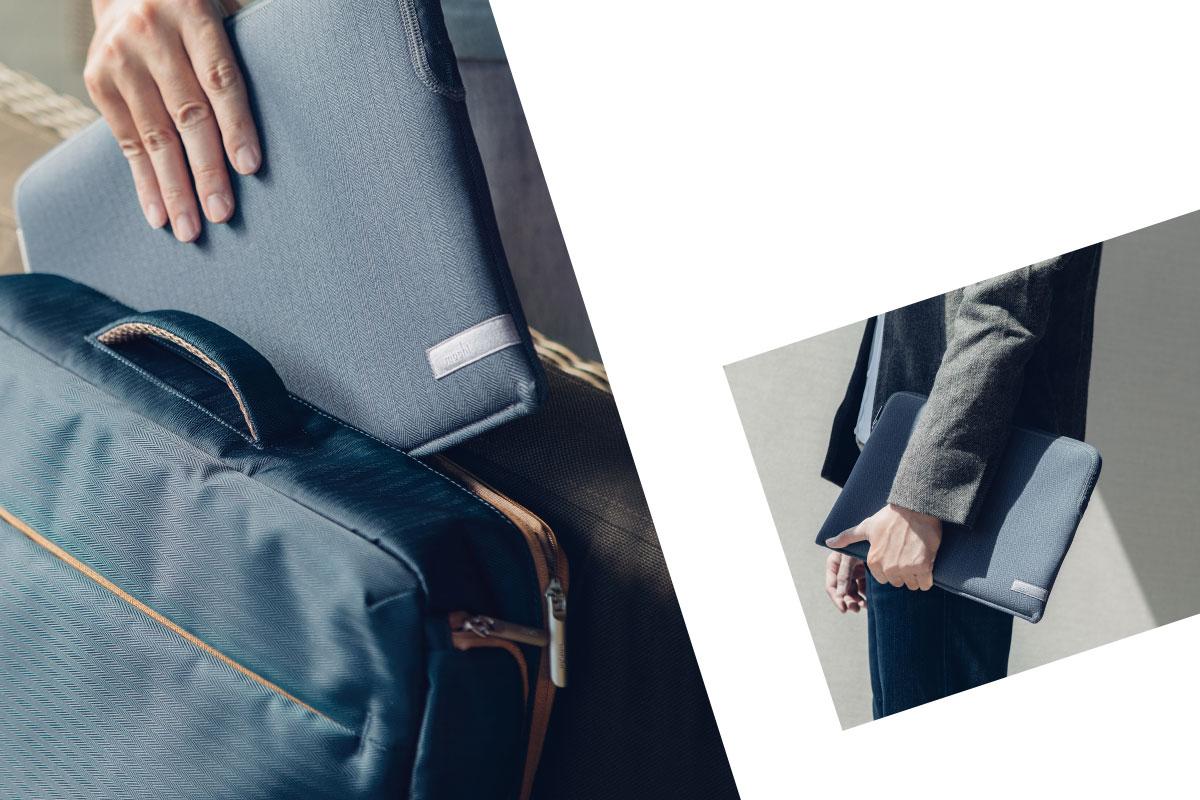 二通りの持ち運び方を選べます。Plumaを腕に抱えて持ち歩くかバッグ内に収納できます。