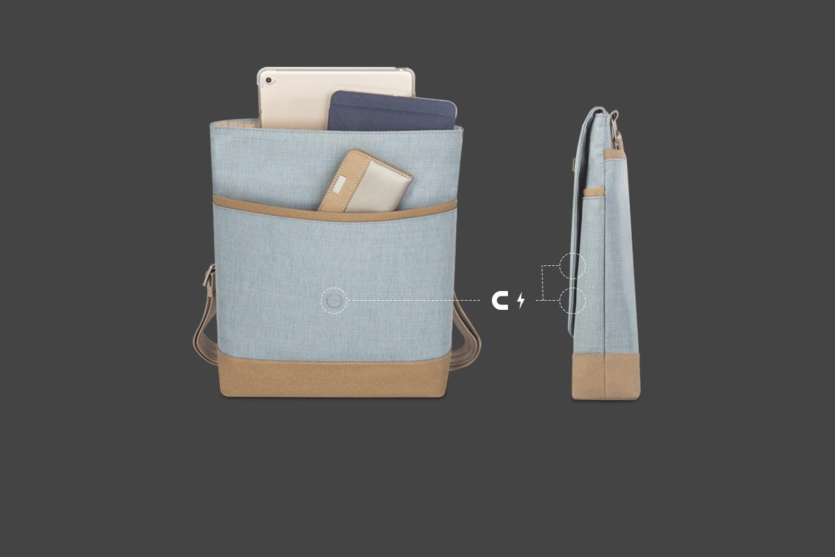 采用 2 段式磁吸固定设计,可延展空间,即使存放额外装置,也可使包保持闭合。