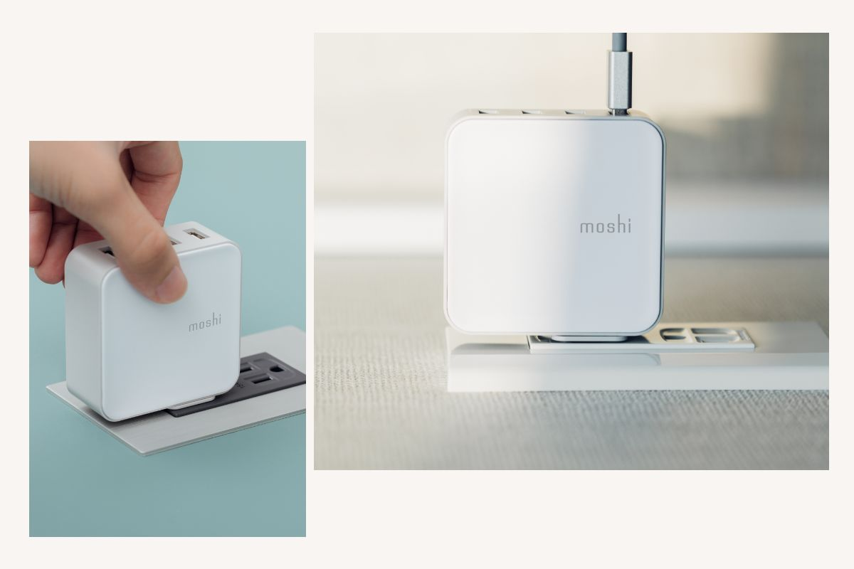 When more than one device is plugged in Moshi's proprietary Dynamic Power Sharing technology intelligently senses the total charging current to ensure optimized charging of all connected devices. Also meets US DoE Energy Level VI compliance.