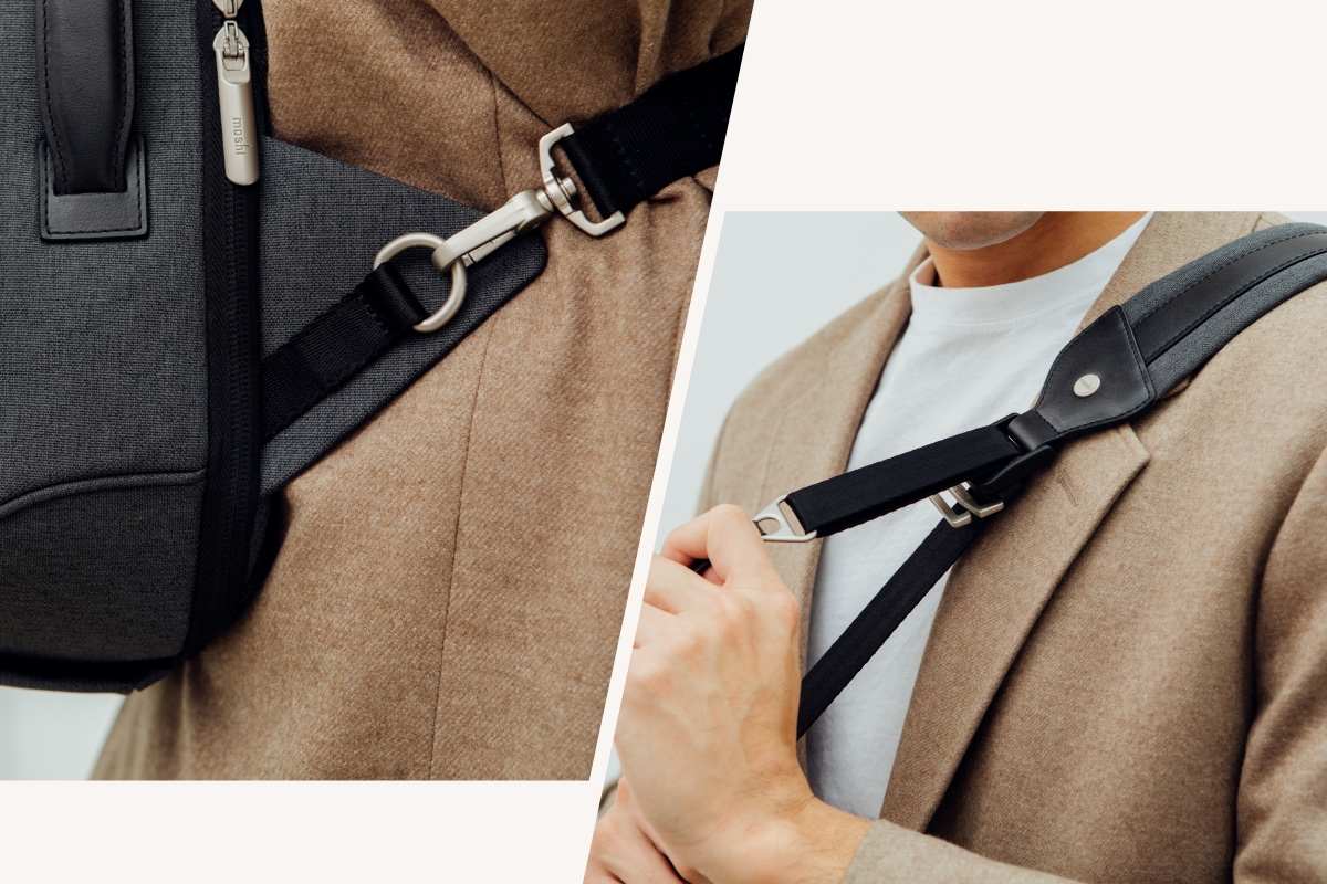 Padded back straps and side-protector triangle tabs make for comfortable all-day carrying as a backpack and can also be hidden away when in briefcase mode. In crossbody mode, the convertible QuikFlip™ strap allows you to quickly swing Muto from your back to front for easy access on the go.