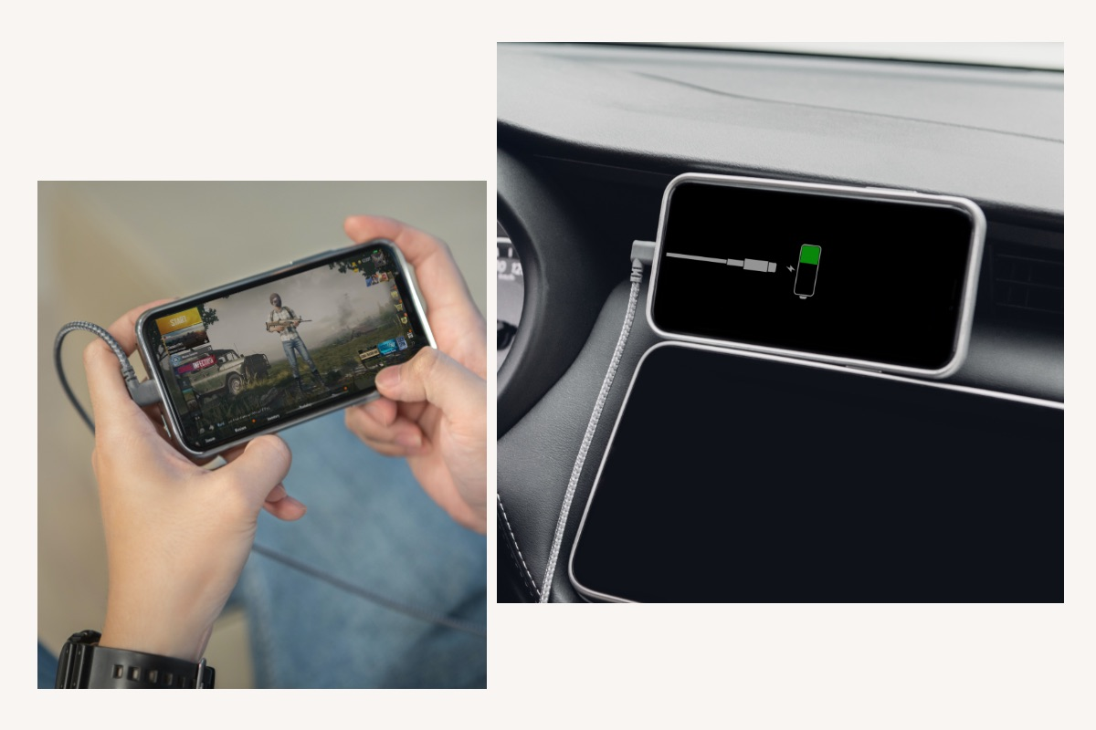 Ideal for hand-held gaming, typing, or charging in the car.
