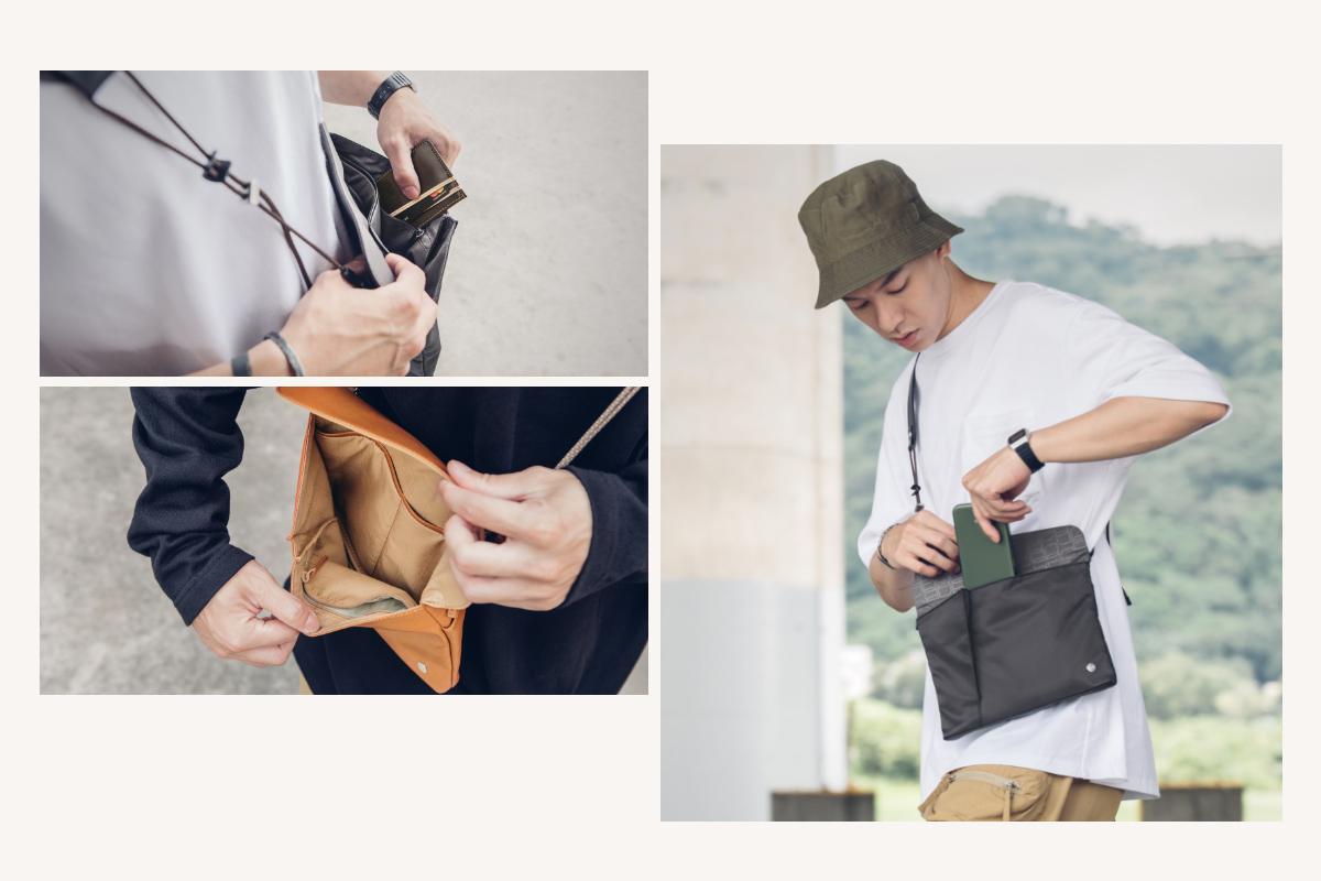 磁吸安全前扣設計,能快速取放如手機、交通卡等最頻繁使用的物品,提供與拉鍊或鈕扣同樣的安全性,同時增添便利性。後置的拉鍊口袋提供錢包護照等重要物品提供額外的安全防護。內部的拉鍊 RFID 防盜袋可保護信用卡、金融卡等物品的資訊安全性。