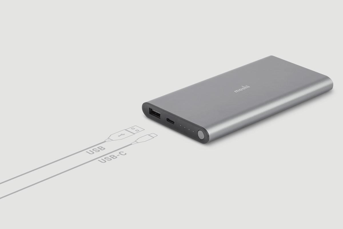 USB-C and USB portable battery.