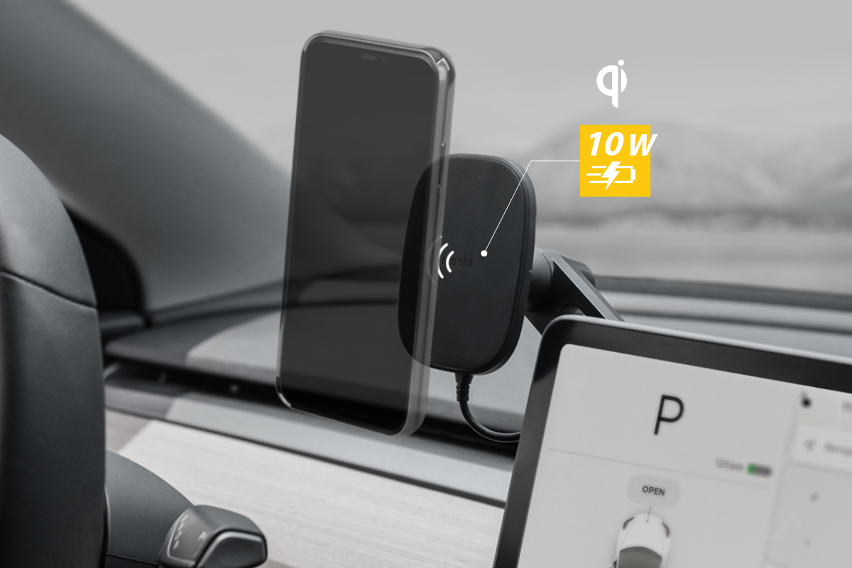 Certified by the Wireless Power Consortium to ensure quality and reliability, the SnapTo Universal Car Mount supports wireless fast-charging up to 10W and is compatible with fast-charging protocols of Apple and Samsung. The SnapTo system aligns your phone perfectly for optimal wireless charging efficiency to keep your device powered up even when using energy-intensive features like GPS.