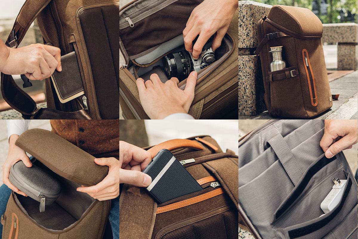 随身携带您的笔记本电脑、相机、夹克衫等。