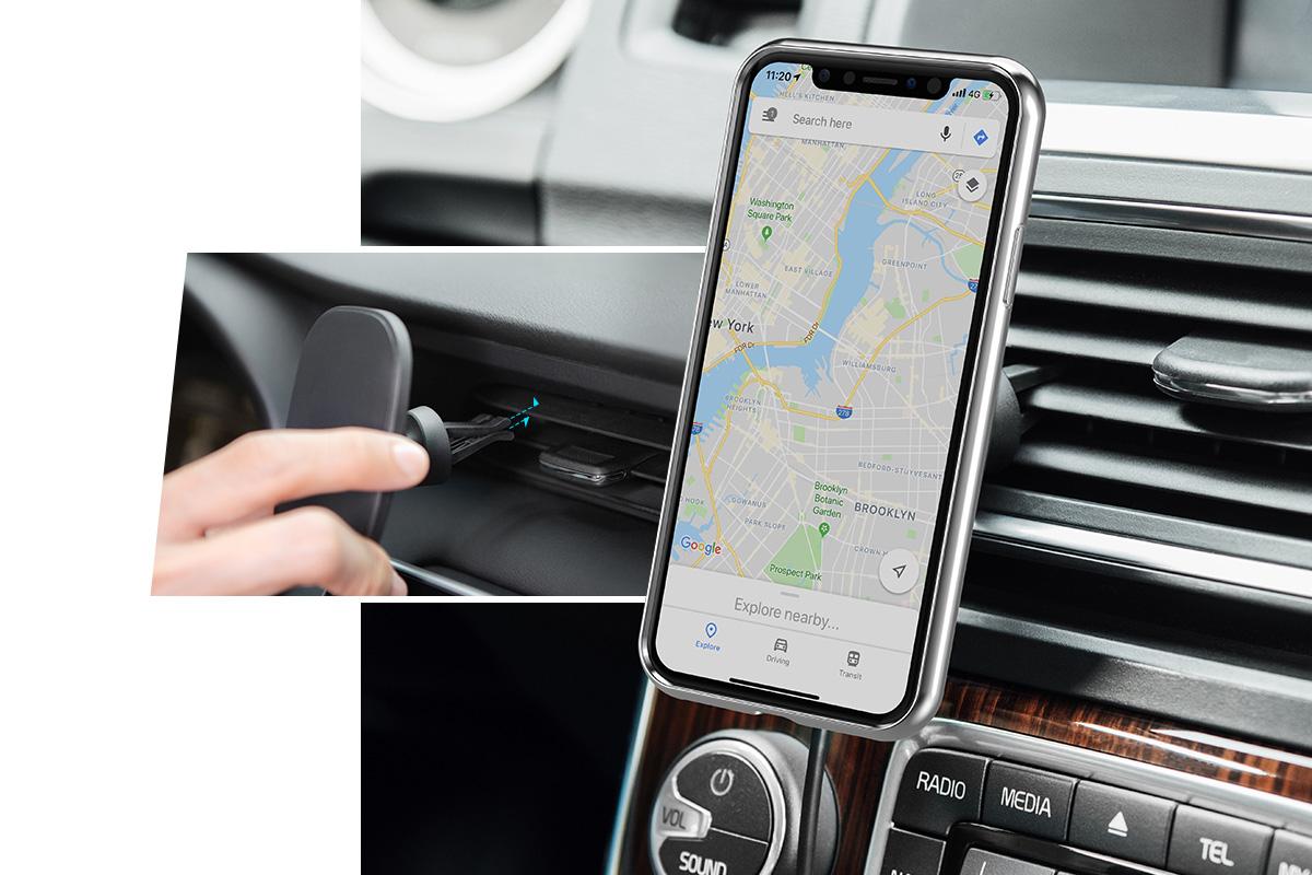 使用车载支架/黏贴固定座于汽车内安装。