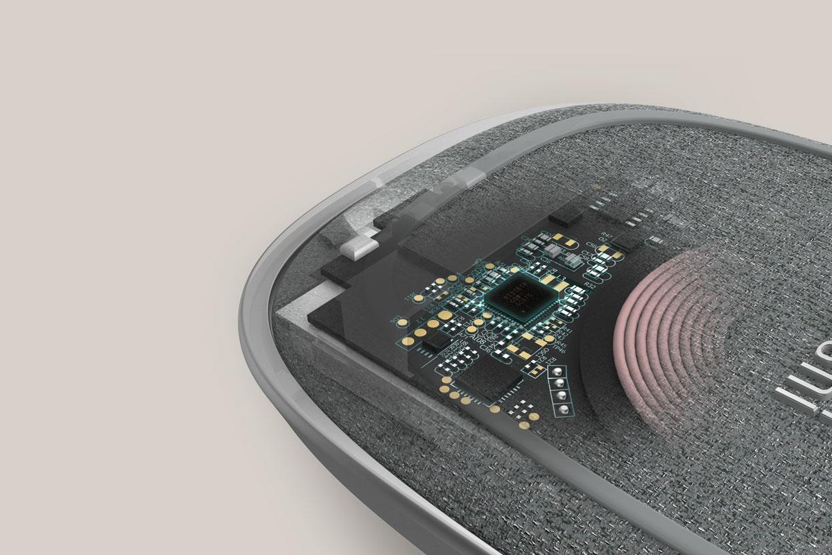 Su avanzada circuitería ofrece carga inalámbrica optimizada, detección de objetos extraños y control Smart LED.