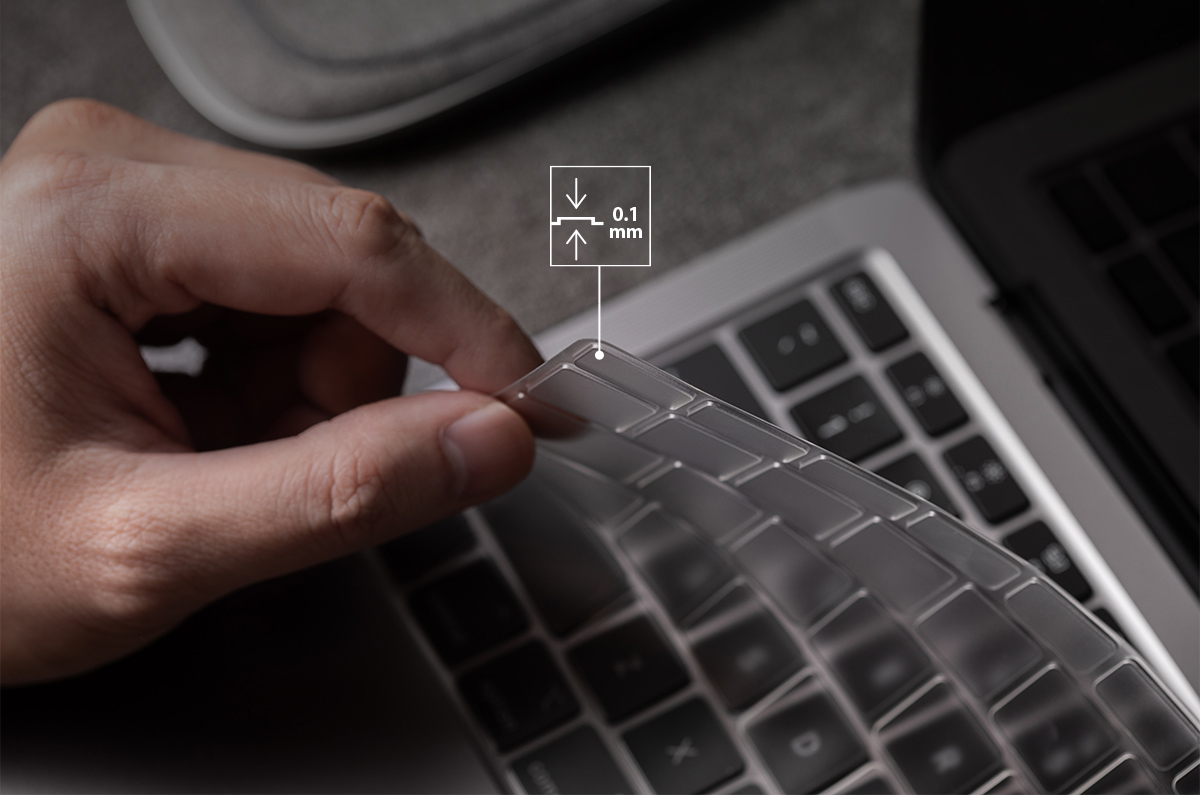 Five times slimmer than a traditional silicone keyboard protector.