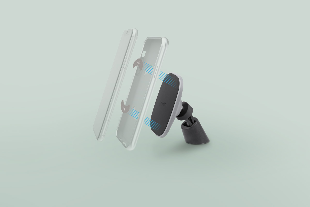 The included metal tabs fit inside any compatible SnapTo case by Moshi. No need to stick unsightly objects to your case!