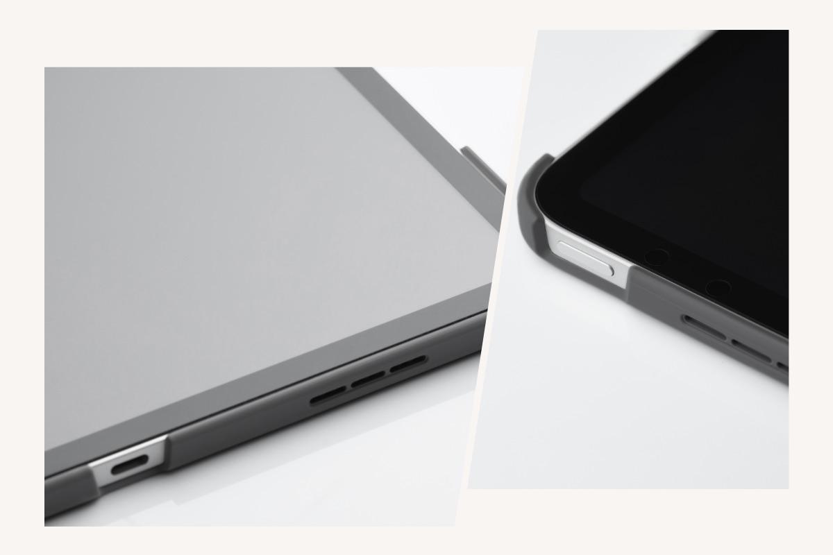 VersaCover behindert den Betrieb Ihres iPad nicht, da die Präzisionsausschnitte einen einfachen Zugang zu den Tasten, der Touch-ID und der Kamera ermöglichen.