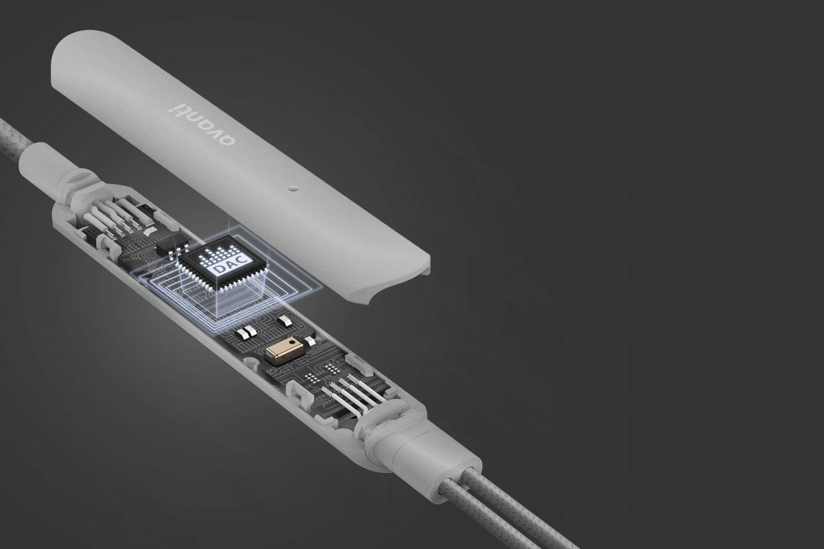 Moshi USB-C 音频内建 Class G 放大器,内置 DAC (数字模拟转换器),提供高解析度音质 (24-bit/96kHz),低音强劲、生动且顺滑,中频和高频调音清晰、细节丰富。
