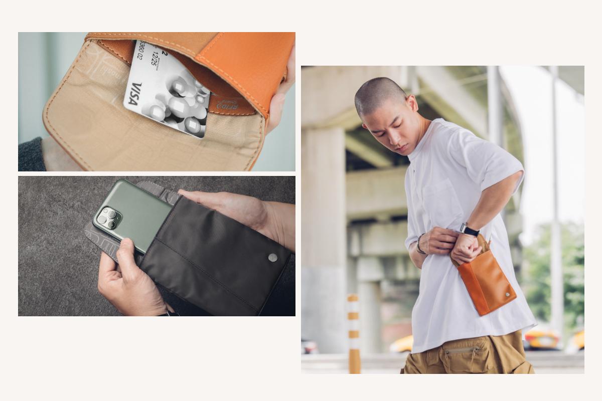 磁吸安全前扣設計,能快速取放如手機、交通卡等最頻繁使用的物品,提供與拉鍊或鈕扣同樣的安全性,同時增添便利性。內部的超細纖維內襯可防止物品刮傷, RFID 防盜袋可保護信用卡、金融卡等物品的資訊安全性。