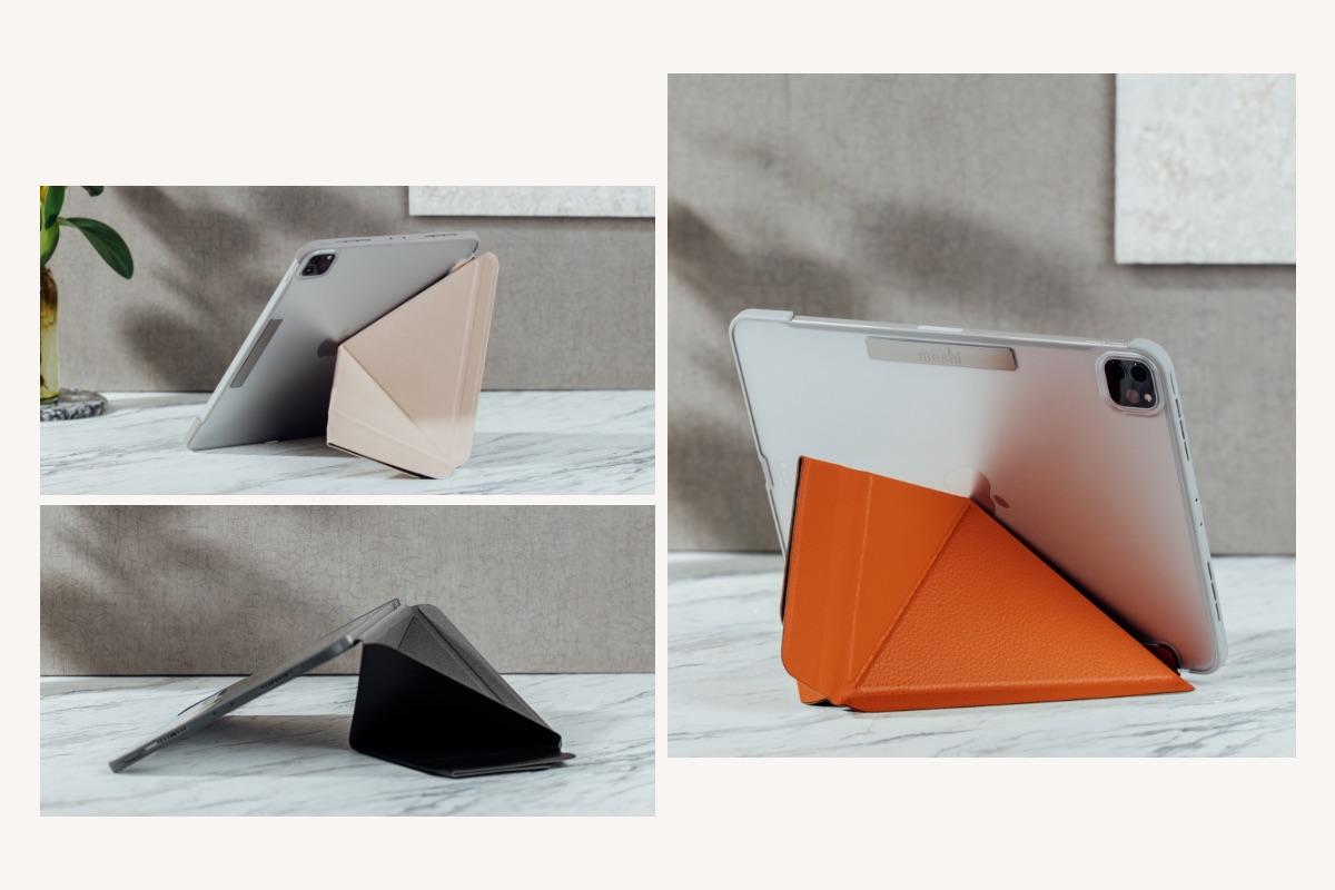 VersaCover 多角度前后保护套,以获奖的折纸式折叠设计,分别为「观影」、「浏览」、「打字」 提供3 种不同的舒适使用视角。