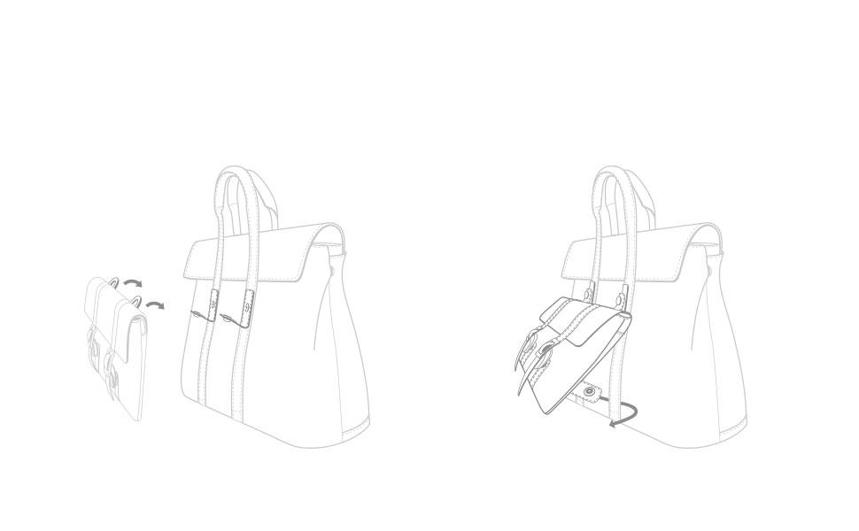 Lösen Sie die Schnappschlaufen, um die Treya Clutch an den Metallringen zu befestigen. Zum Schließen einrasten. Verbinden Sie die unteren Schnappschlaufen der Clutch mit den vertikalen Gurten der Tasche. Zum Schließen einrasten.