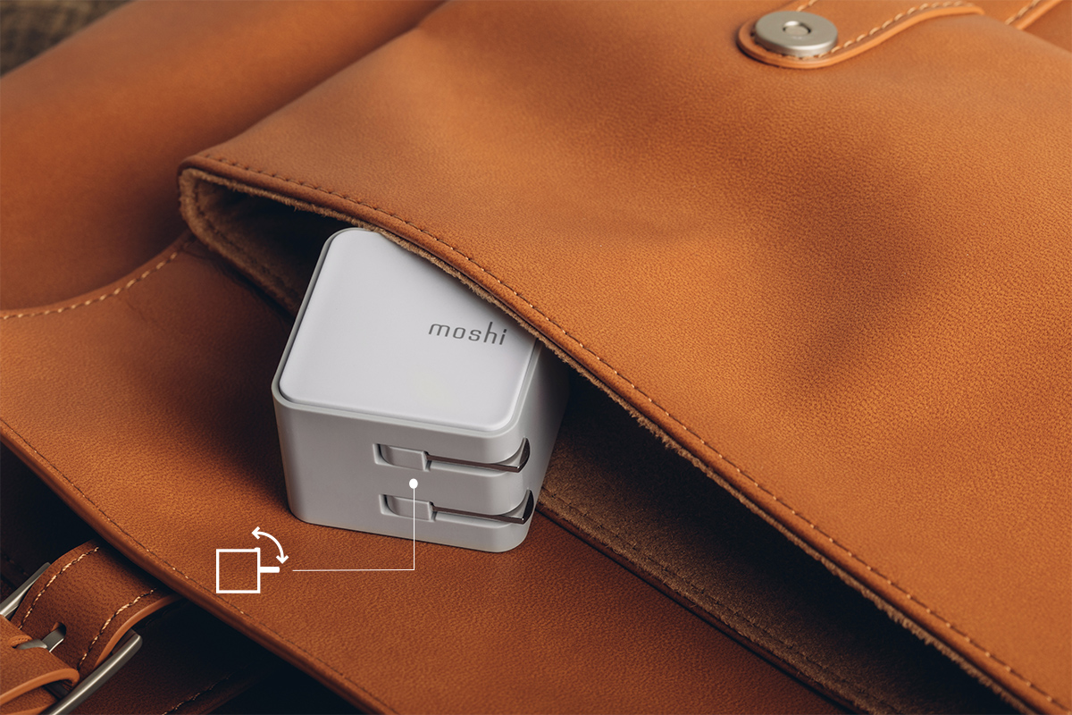 もつれたり、バッグやスクリーン、持ち物に傷をつけてしまうような尖った電源プラグはもう必要なし。折りたたみ式プラグと軽量化したコンパクトなデザインのおかげで、持ち運びにも理想的なチャージャーとなりました。