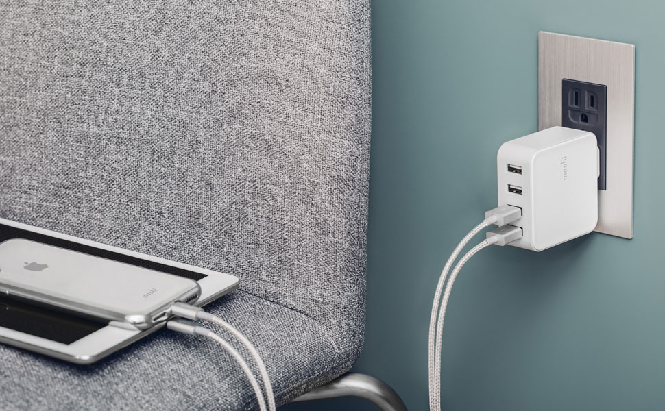 Fast charge 4 USB devices at the same time with ease.