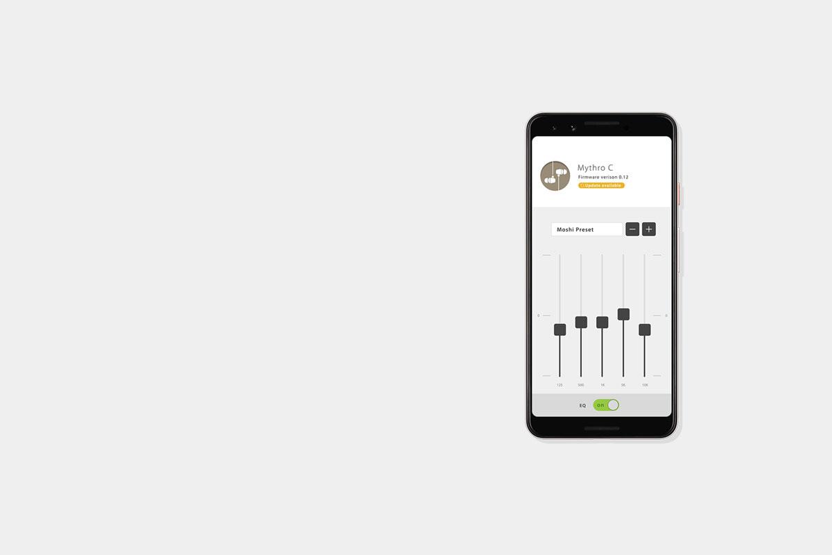 Laden Sie die Digital Audio-App von Moshi herunter, um Ihre bevorzugten EQ-Voreinstellungen zu speichern. Speichern Sie bis zu 5 Voreinstellungen und  wechseln Sie mit der DJ-Boost-Taste zu Ihrem Favoriten.