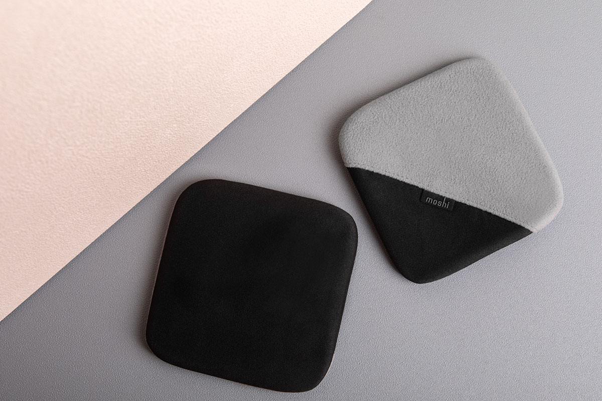 Use the black side with a light spray of water to wipe away smudges. Turn the glove inside-out for dust removal using the gray side.