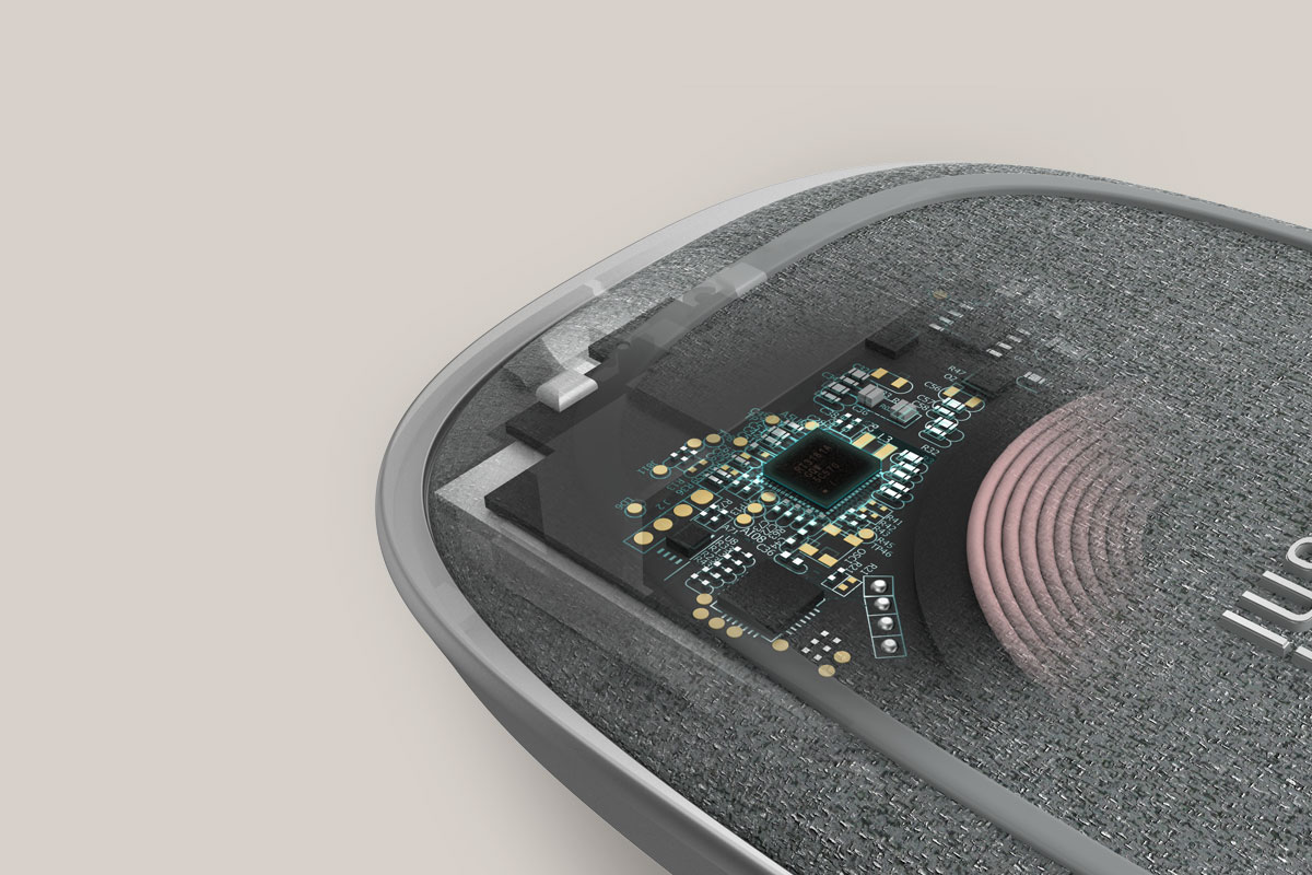 ワイヤレス充電、異物検知、過熱防止、スマート LEDコントロールを最適化する最先端回路が採用されています。