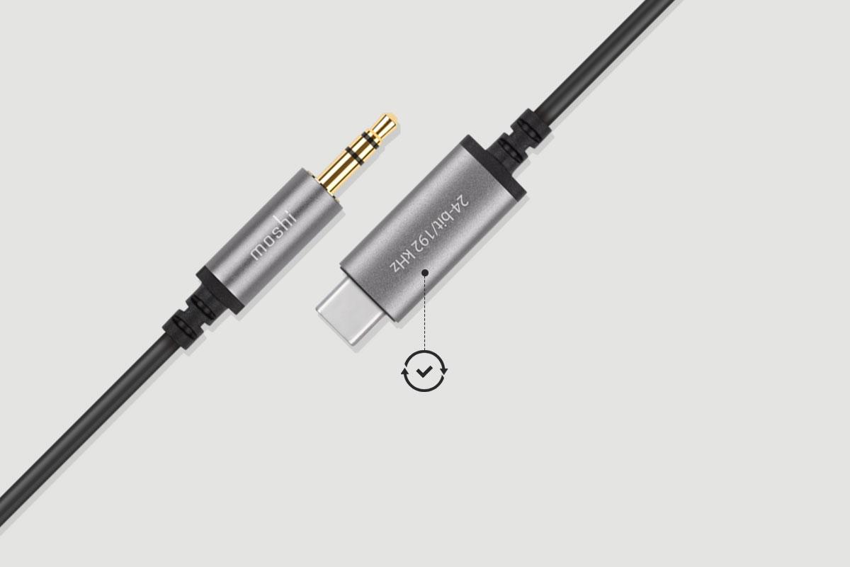 Le câble auxiliaire vers USB-C est à l'épreuve du temps et son firmware peut être mis à jour pour plus de compatibilité.