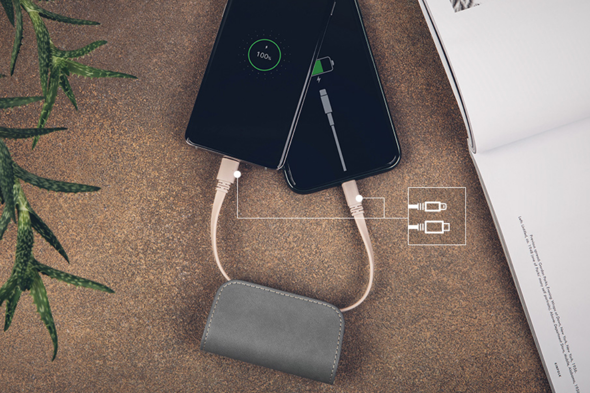 Hideaway Lightning and USB-C cables so there's no need to bring anything else with you. Charge two devices at once or use pass-through charging to charge your Lightning device and top up IonGo at the same time.