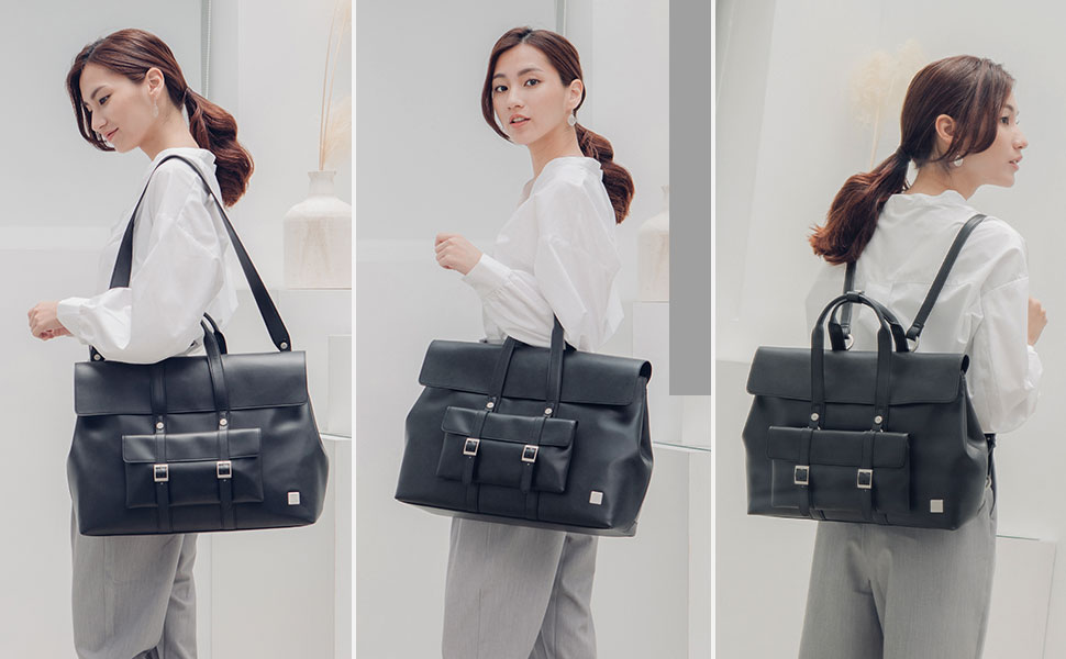 Treya is three bags in one: a messenger for commuting to work, a backpack for hands-free convenience, and a briefcase for going to meetings in style. Adjustable straps let you convert how you carry to match every occasion.
