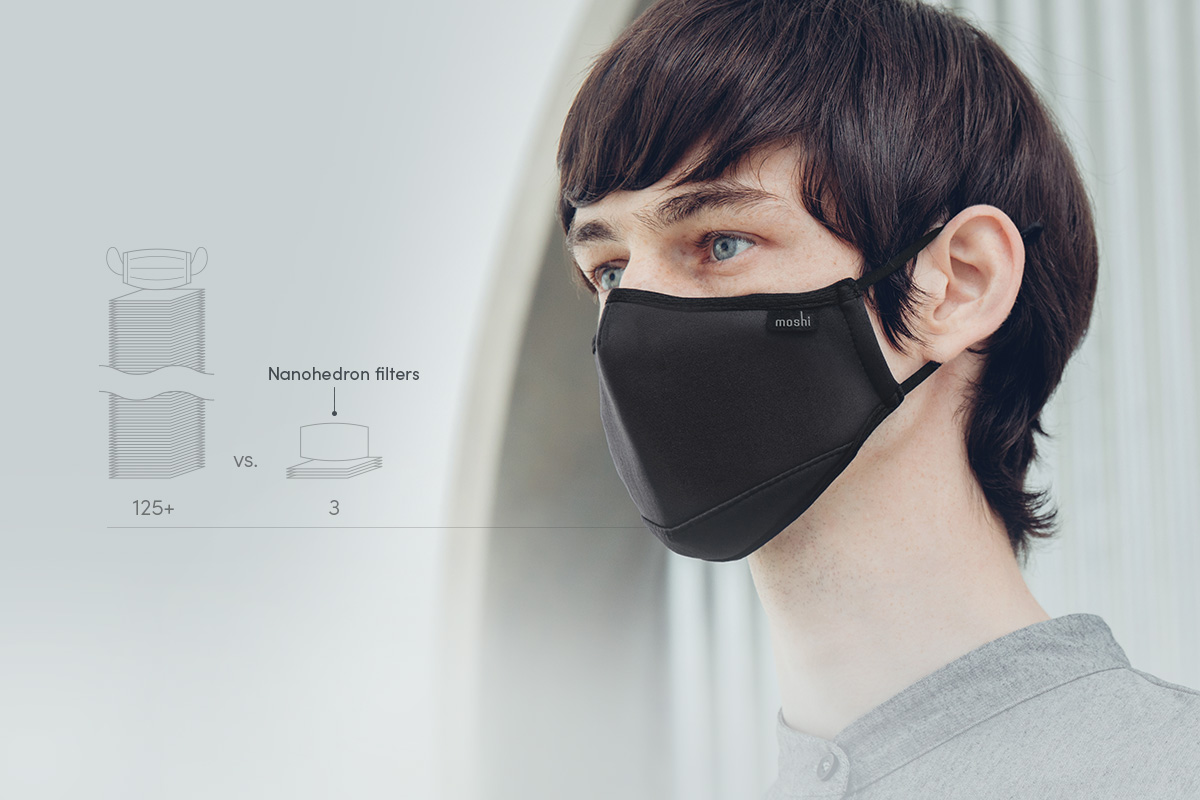 Depending on the pollution in your area, each filter can be used for up to 6 weeks. In regions with more pollution, replace the filter every 2 weeks. Unlike standard surgical masks, the Nanohedron™ filter can also be sanitized in between replacements using an alcohol spray without affecting performance.