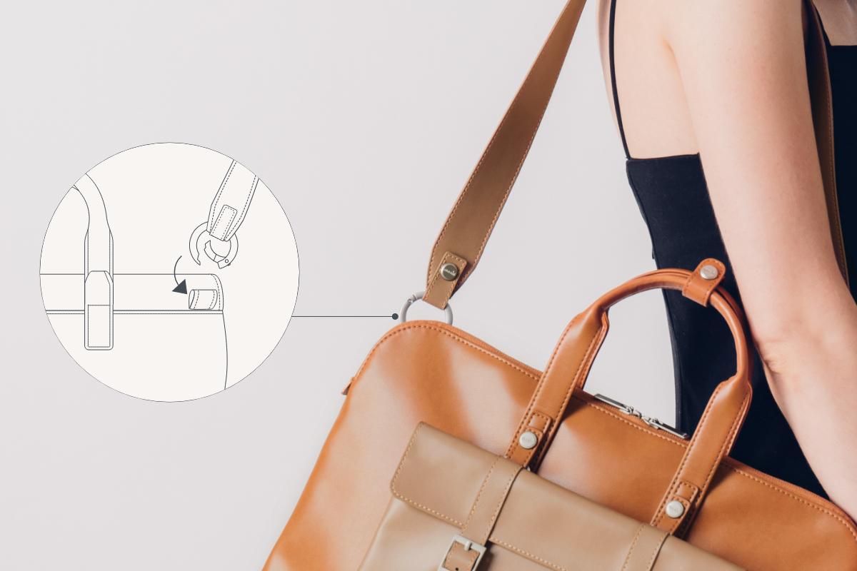 Lösen Sie die Schnappschlaufen, um den Treya-Schultergurt an den Metallringen zu befestigen. Zum Schließen einrasten. Verbinden Sie die unteren Schnappschlaufen der Clutch mit den vertikalen Gurten der Tasche. Zum Schließen einrasten.