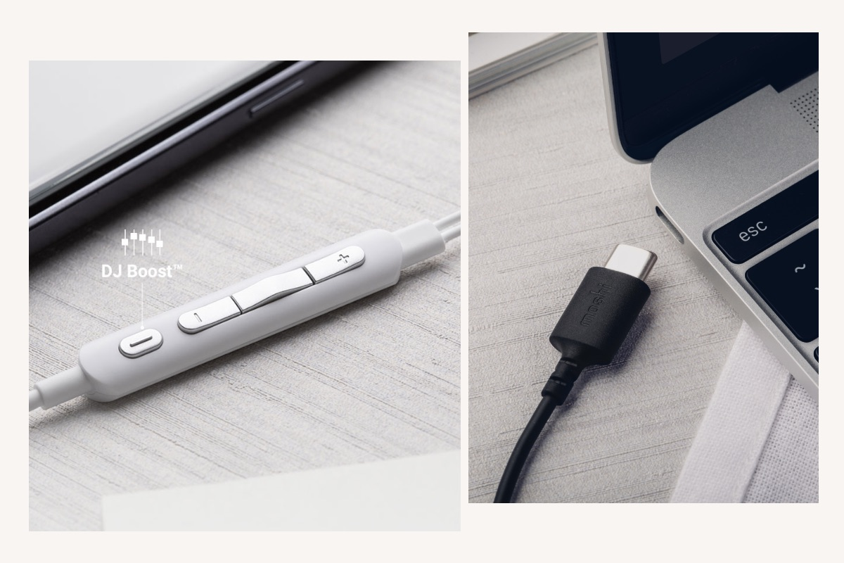 Avanti C's USB-C connector is compatible with any USB-C phone, tablet, or laptop and the cable includes a built-in Digital-to-Analog Converter (DAC) for high-resolution audio (24-bit/96 kHz) with a Class G amplifier. Want more bass? More treble? Quickly switch to your favorite EQ preset at the push of the DJ Boost button on the in-line 4-button remote.