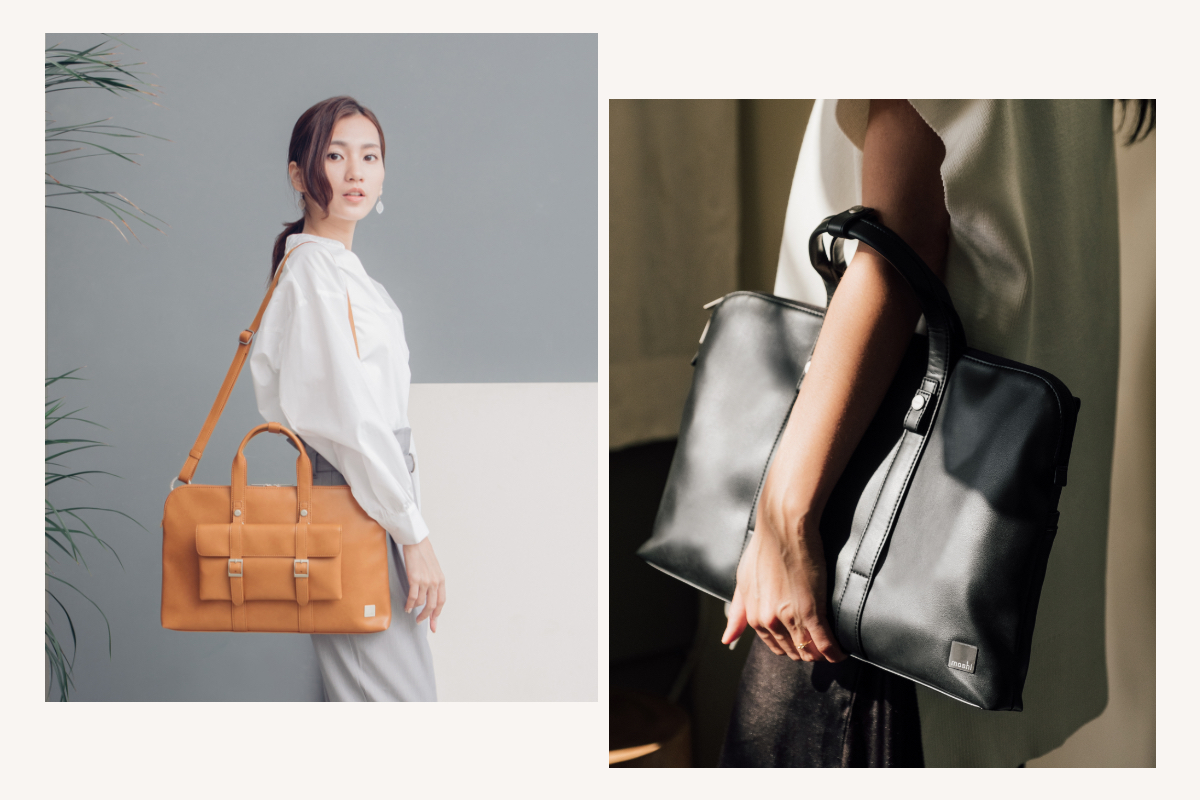 Carry Treya as a briefcase for going to meetings in style, or attach the adjustable strap to carry it over the shoulder or crossbody.