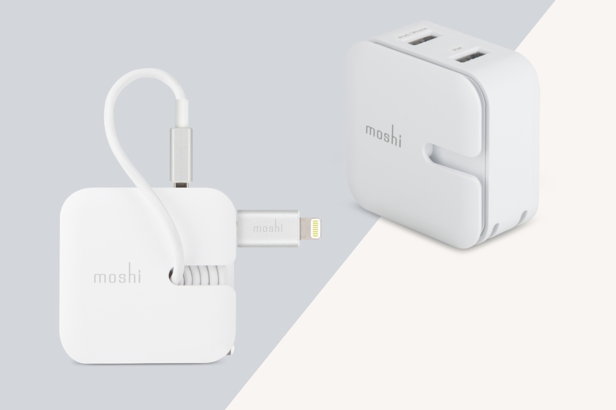 Cable management groove keeps the charging cable organized during transport while folding plug blades give the adapter a compact footprint.