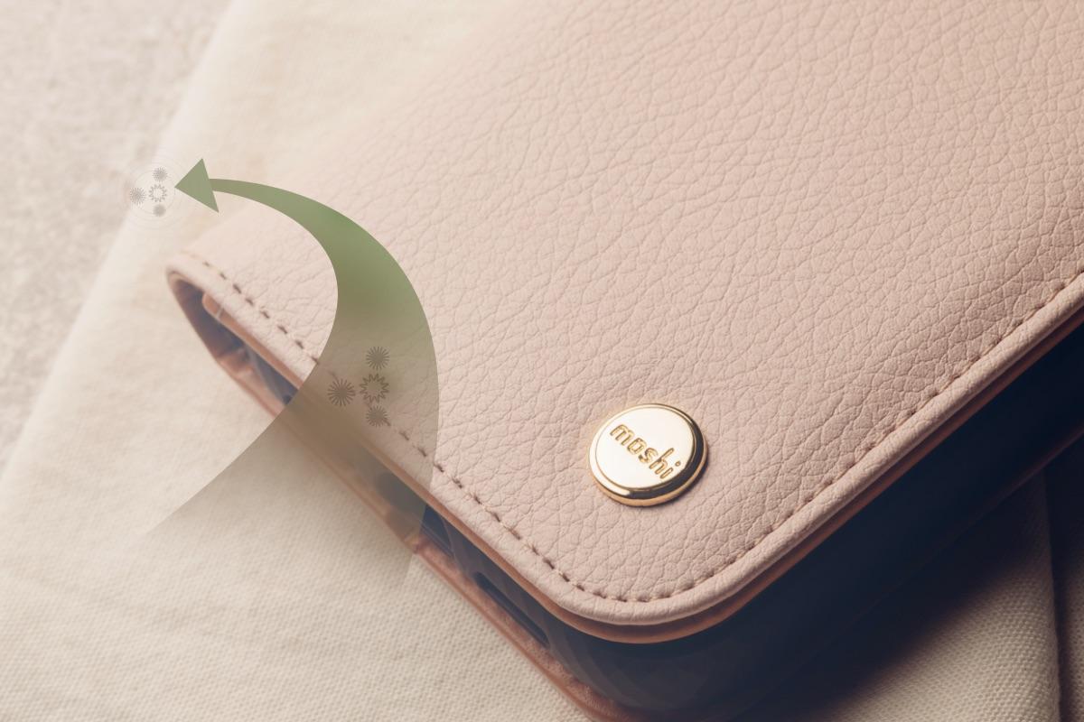 Die Soft-Touch-Außenseite verleiht nicht nur ein erlesenes und elegantes Aussehen, sondern schützt Ihr Telefon auch vor den Elementen, wenn Sie unterwegs sind. Für zusätzlichen Schutz wurde Overture mit der antimikrobiellen Beschichtung NanoShield™ von Moshi behandelt, die Keime und Bakterien bei Kontakt abtötet.
