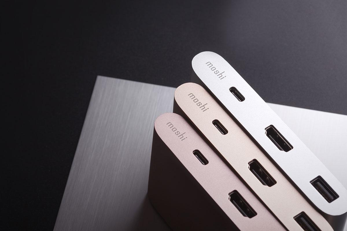 El adaptador multipuerto USB-C de Moshi está recubierto de aluminio de alta calidad.