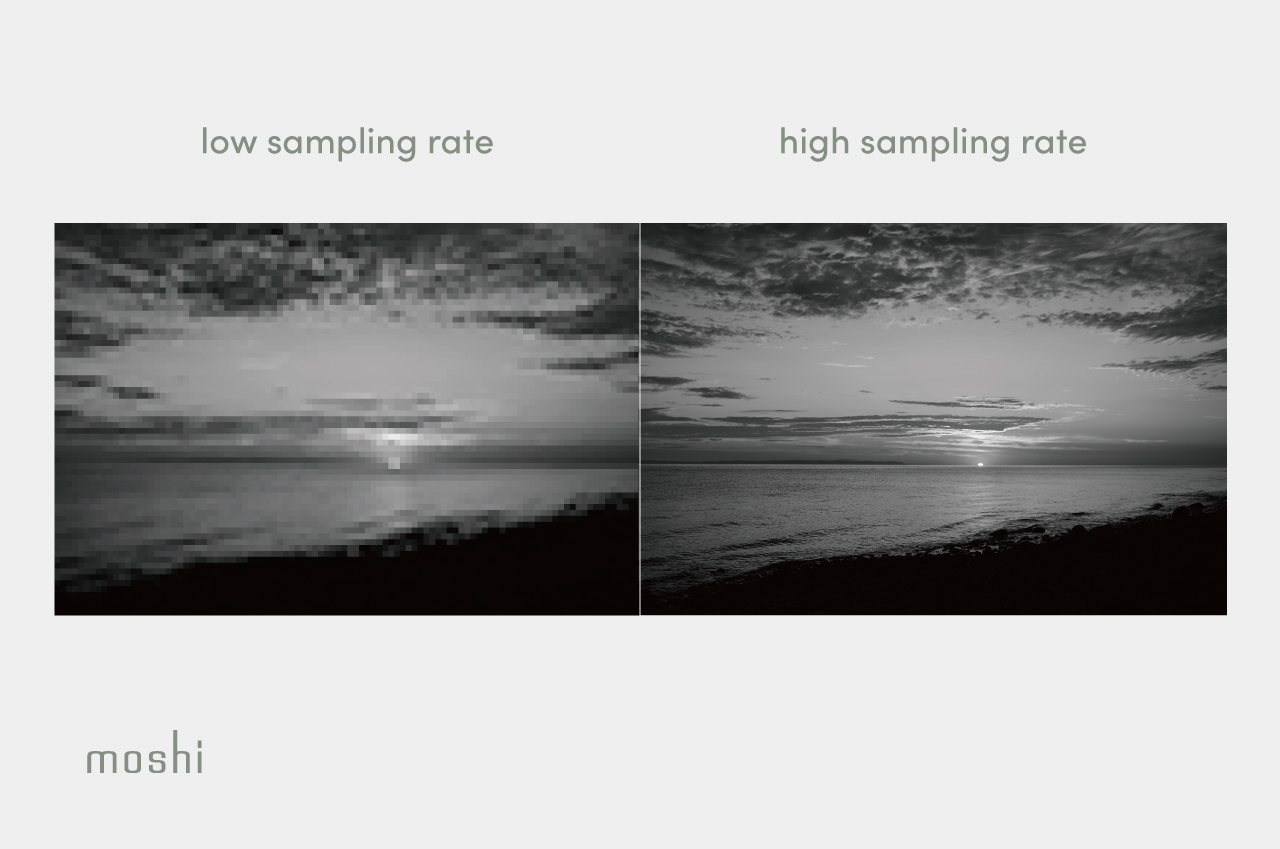 A low-resolution and high-resolution grayscale photograph of a sunset side by side to illustrate the concept of sampling rate