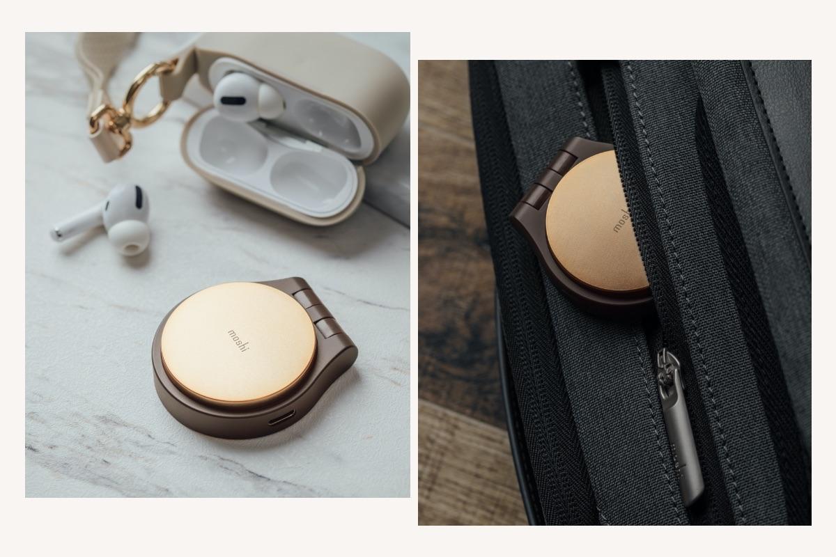 旅行に便利なデザインのOrbitoはスリムでコンパクト、ポケットやバッグにすぐ滑り込ませます。3.5 mmデュアルオーディオコネクタは折りたたまれてはいっている装置本体から解けて出て、柔軟に角度を変えて設置可能です。