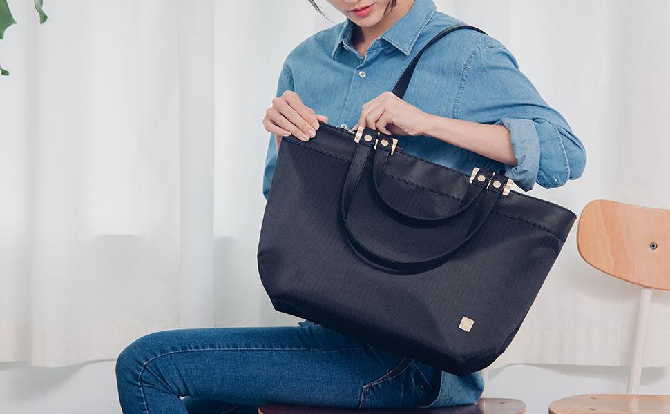 Dank Veranas Doppelriemen-Design können Sie Ihre Tasche über der Schulter, am Arm oder bequem an der Hand tragen.