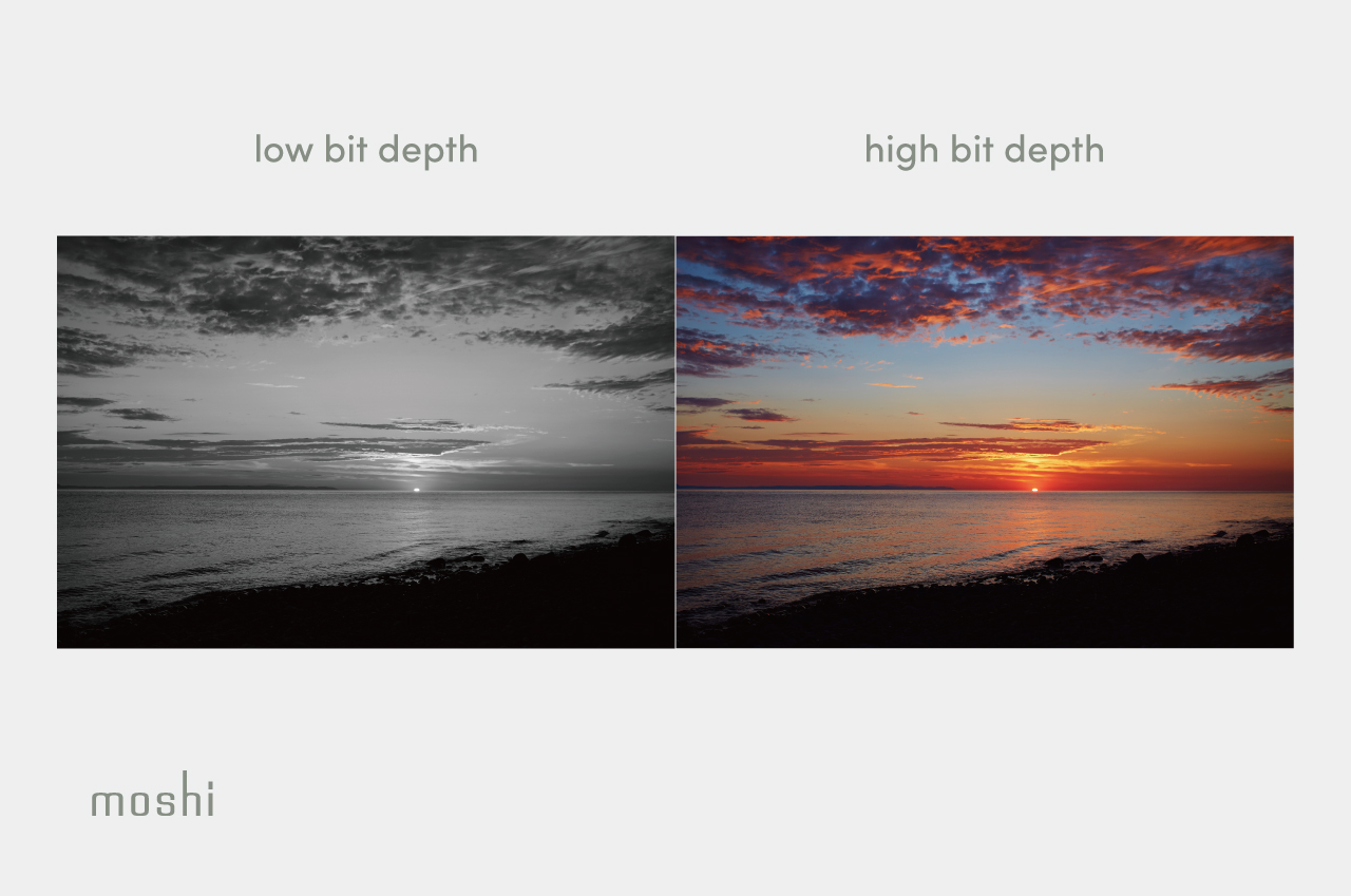 A grayscale and color photograph of a sunset to illustrate the concept of bit depth