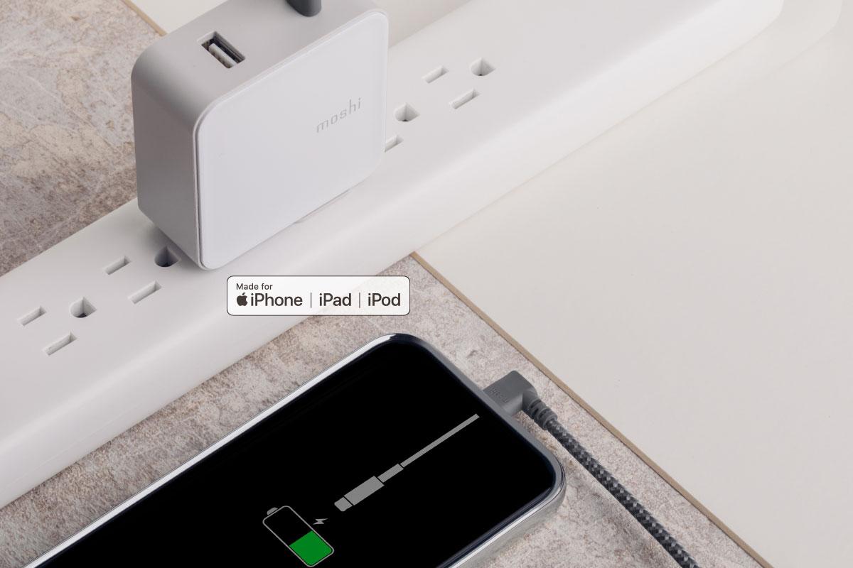 Moshi 这款充电/传输编织线采用苹果最新的 Lightning 接头 (C94),确保电压精准匹配,减少损耗,延长您设备电池的使用寿命。这也是为什么选择经 MFi 认证传输线的原因。